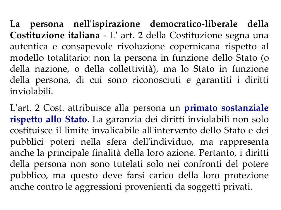 IL PRINCIPIO PERSONALISTA Art.2 Cost.