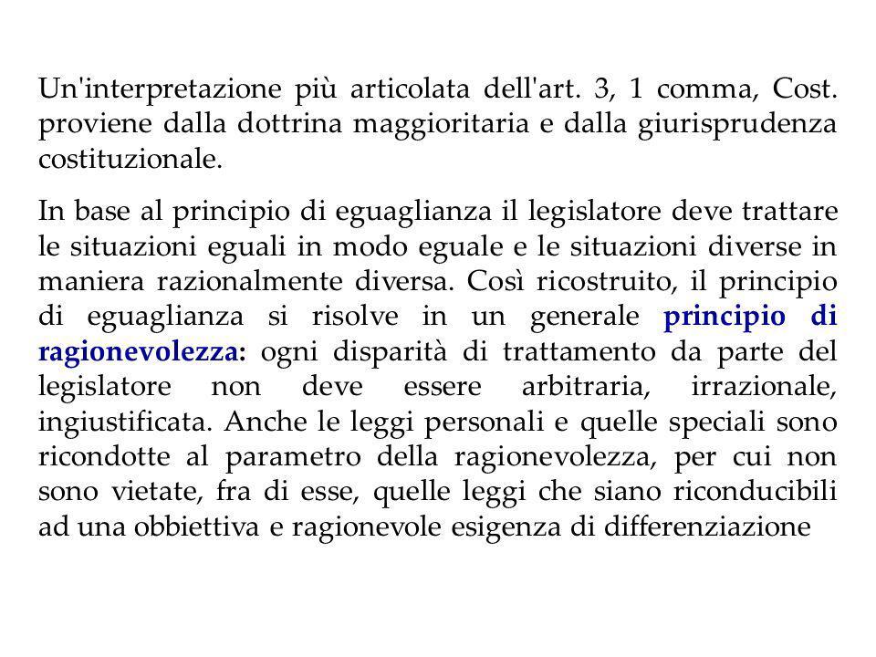 PRINCIPIO DI EGUAGLIANZA Art.