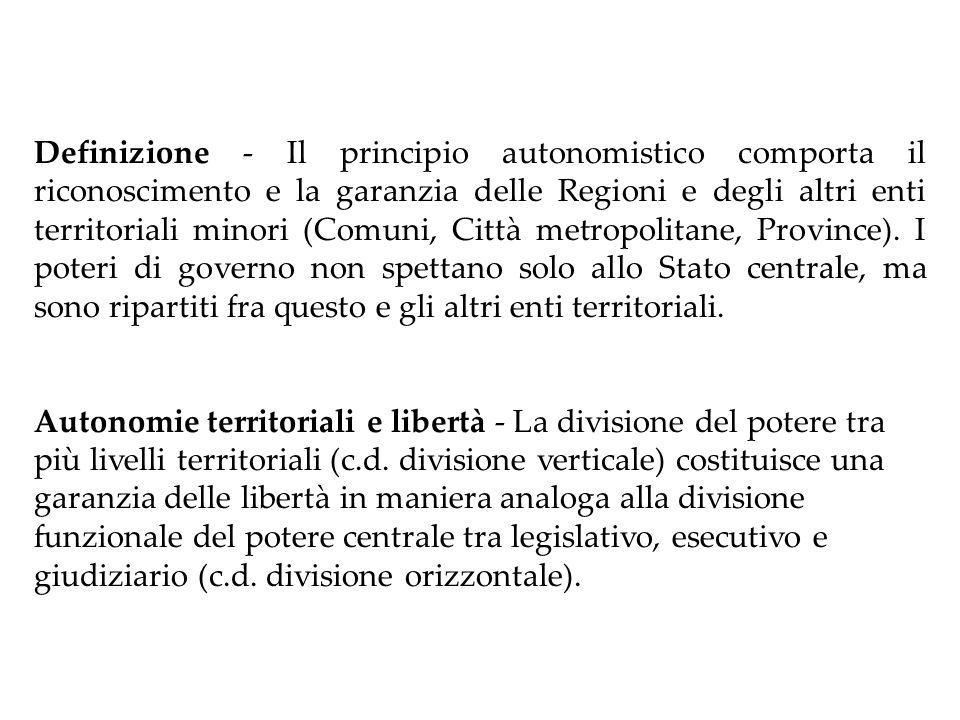 IL PRINCIPIO AUTONOMISTICO Art.5 Cost.