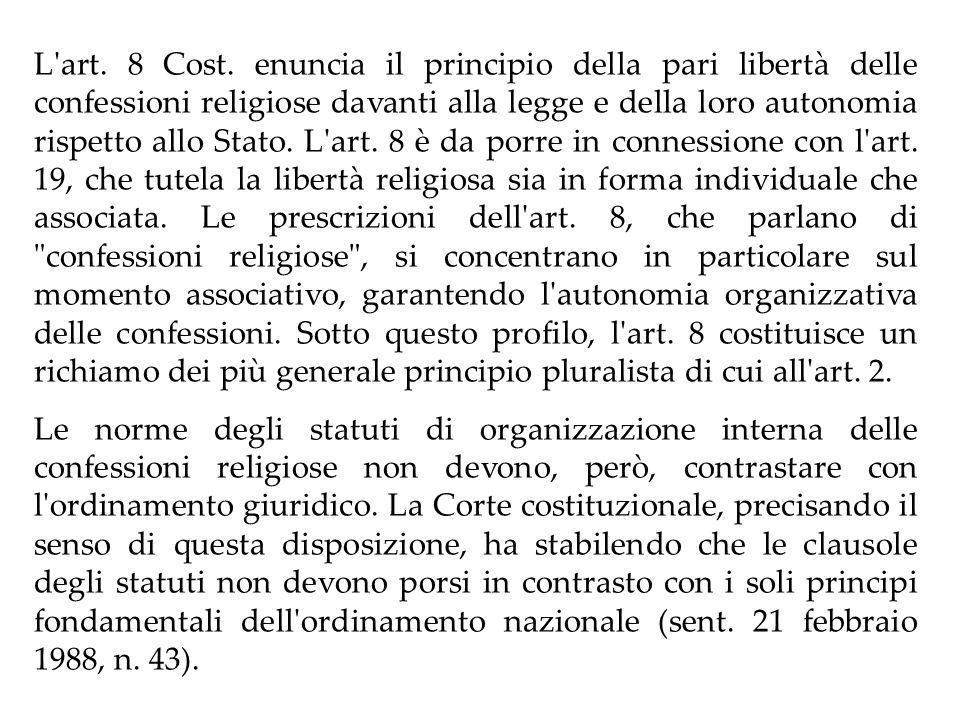 RAPPORTO STATO-CONFESSIONI RELIGIOSE Art.7 Cost.