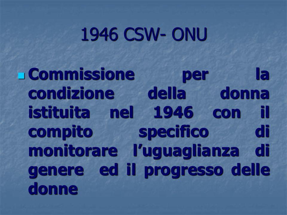 1946 CSW- ONU Commissione per la condizione della donna istituita nel 1946 con il compito specifico di monitorare luguaglianza di genere ed il progres