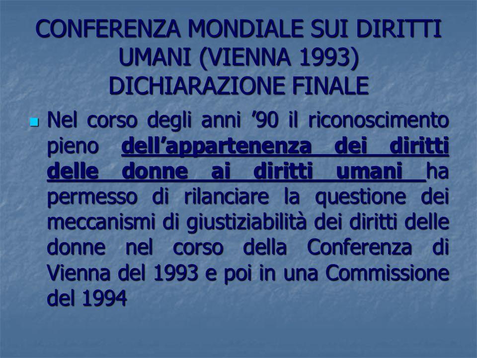 CONFERENZA MONDIALE SUI DIRITTI UMANI (VIENNA 1993) DICHIARAZIONE FINALE Nel corso degli anni 90 il riconoscimento pieno dellappartenenza dei diritti