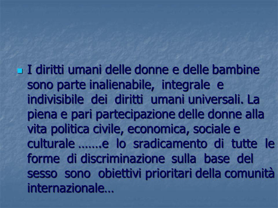 I diritti umani delle donne e delle bambine sono parte inalienabile, integrale e indivisibile dei diritti umani universali. La piena e pari partecipaz