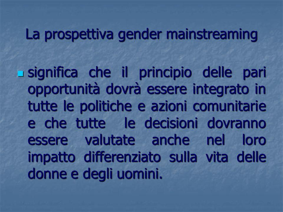La prospettiva gender mainstreaming significa che il principio delle pari opportunità dovrà essere integrato in tutte le politiche e azioni comunitari
