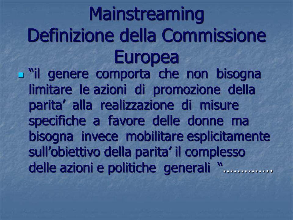 Mainstreaming Definizione della Commissione Europea il genere comporta che non bisogna limitare le azioni di promozione della parita alla realizzazion
