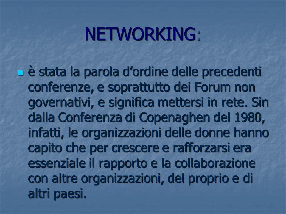 NETWORKING: è stata la parola dordine delle precedenti conferenze, e soprattutto dei Forum non governativi, e significa mettersi in rete. Sin dalla Co
