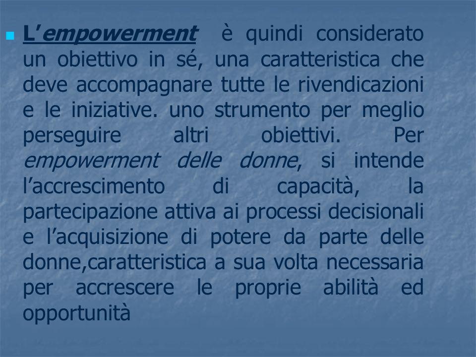 Lempowerment è quindi considerato un obiettivo in sé, una caratteristica che deve accompagnare tutte le rivendicazioni e le iniziative. uno strumento