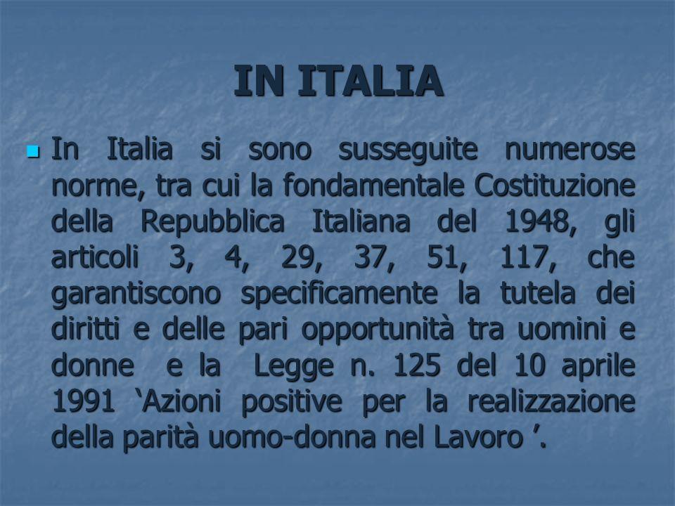 IN ITALIA In Italia si sono susseguite numerose norme, tra cui la fondamentale Costituzione della Repubblica Italiana del 1948, gli articoli 3, 4, 29,