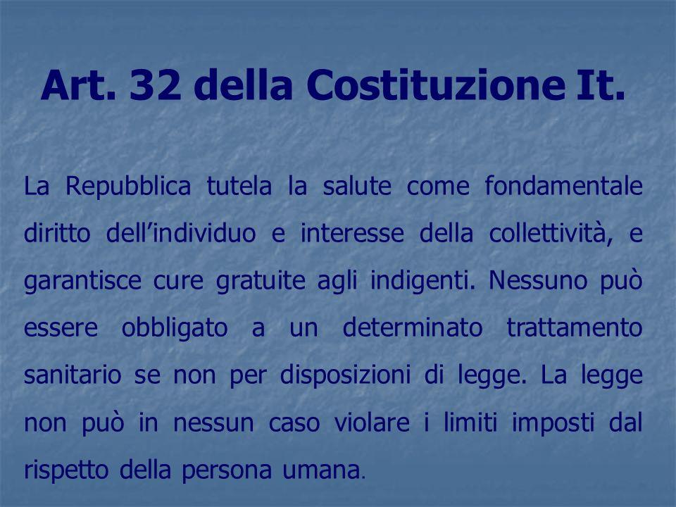 Art. 32 della Costituzione It. La Repubblica tutela la salute come fondamentale diritto dellindividuo e interesse della collettività, e garantisce cur