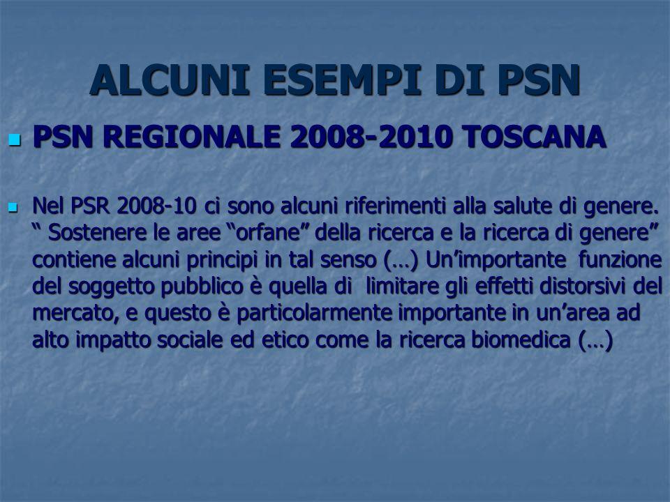 ALCUNI ESEMPI DI PSN PSN REGIONALE 2008-2010 TOSCANA PSN REGIONALE 2008-2010 TOSCANA Nel PSR 2008-10 ci sono alcuni riferimenti alla salute di genere.
