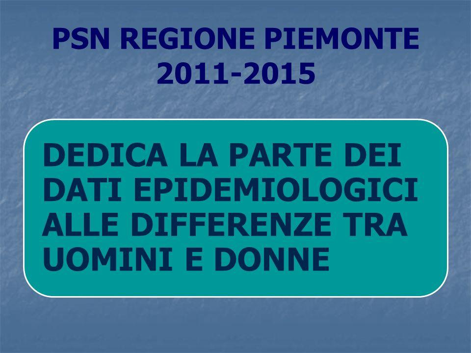 PSN REGIONE PIEMONTE 2011-2015 DEDICA LA PARTE DEI DATI EPIDEMIOLOGICI ALLE DIFFERENZE TRA UOMINI E DONNE