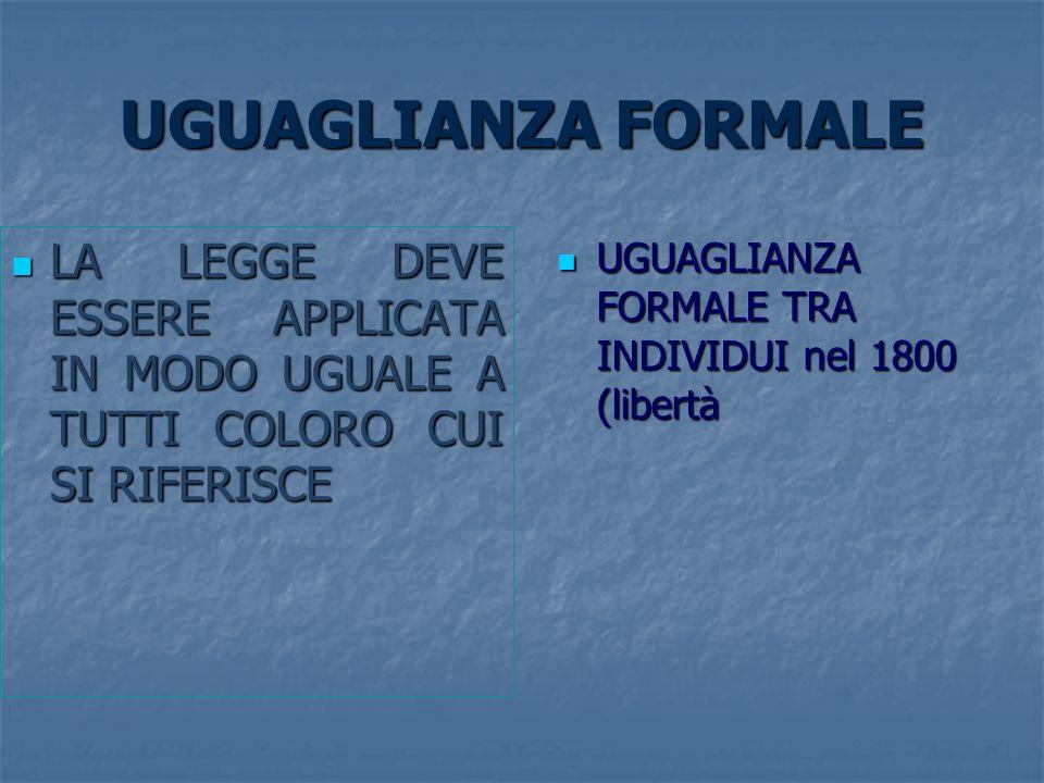 UGUAGLIANZA FORMALE LA LEGGE DEVE ESSERE APPLICATA IN MODO UGUALE A TUTTI COLORO CUI SI RIFERISCE LA LEGGE DEVE ESSERE APPLICATA IN MODO UGUALE A TUTT