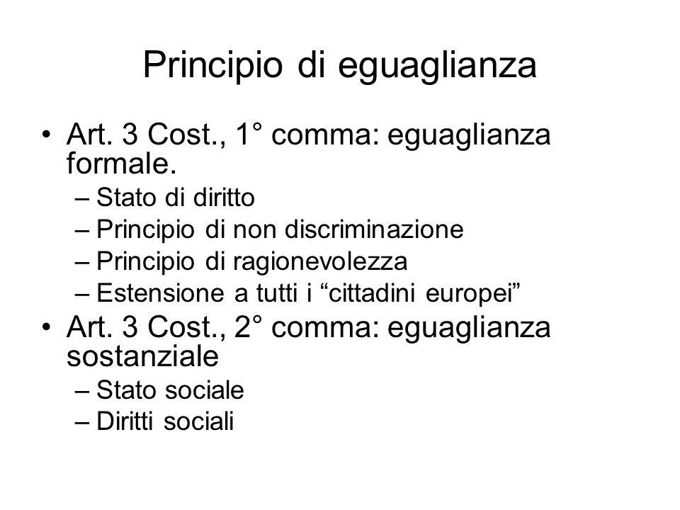 Principio di eguaglianza Art.3 Cost., 1° comma: eguaglianza formale.