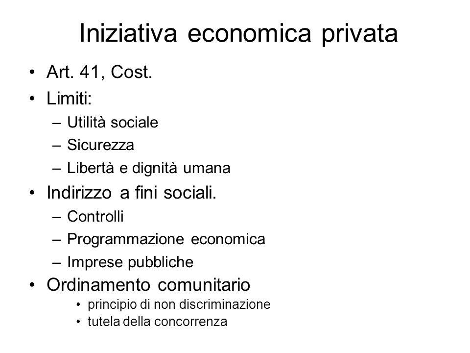 Iniziativa economica privata Art.41, Cost.