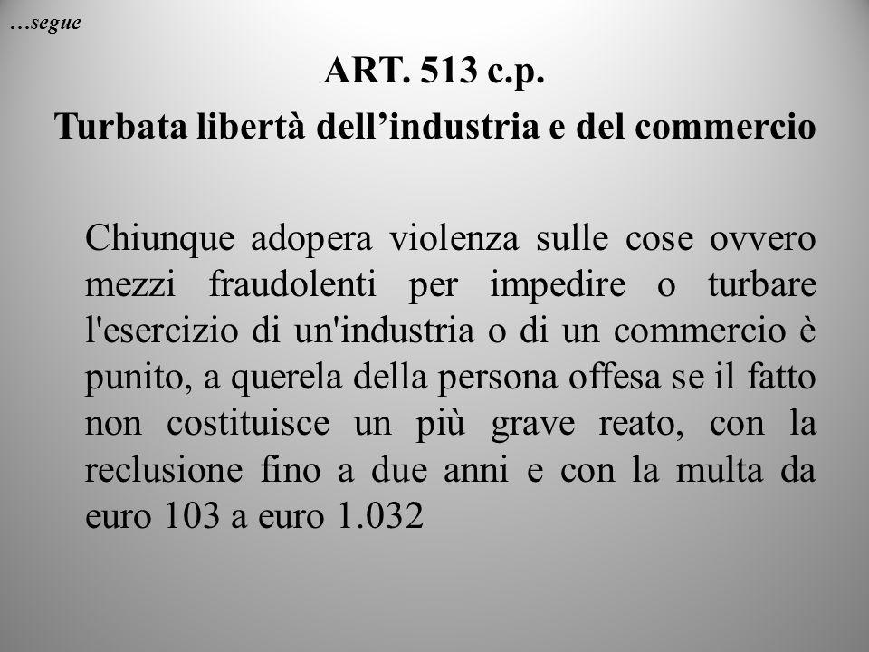…segue ART. 513 c.p. Turbata libertà dellindustria e del commercio Chiunque adopera violenza sulle cose ovvero mezzi fraudolenti per impedire o turbar