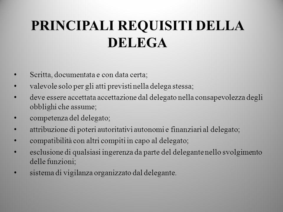 7 PRINCIPALI REQUISITI DELLA DELEGA Scritta, documentata e con data certa; valevole solo per gli atti previsti nella delega stessa; deve essere accett