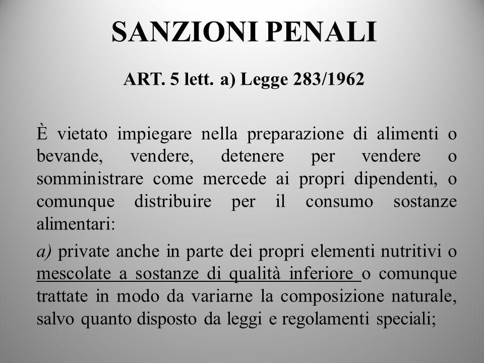 SANZIONI PENALI ART. 5 lett. a) Legge 283/1962 È vietato impiegare nella preparazione di alimenti o bevande, vendere, detenere per vendere o somminist