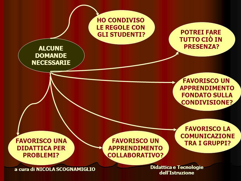 Didattica e Tecnologie dell'Istruzione a cura di NICOLA SCOGNAMIGLIO ALCUNE DOMANDE NECESSARIE HO CONDIVISO LE REGOLE CON GLI STUDENTI? POTREI FARE TU