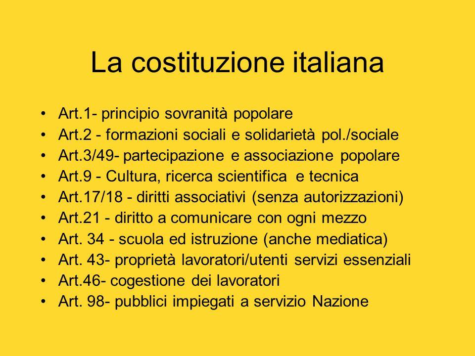 La costituzione italiana Art.1- principio sovranità popolare Art.2 - formazioni sociali e solidarietà pol./sociale Art.3/49- partecipazione e associaz