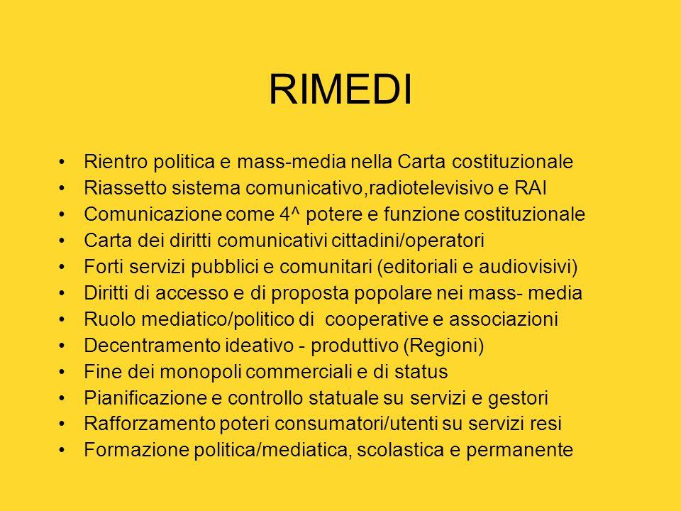RIMEDI Rientro politica e mass-media nella Carta costituzionale Riassetto sistema comunicativo,radiotelevisivo e RAI Comunicazione come 4^ potere e fu