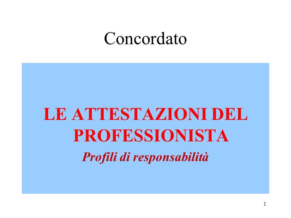 Concordato LE ATTESTAZIONI DEL PROFESSIONISTA Profili di responsabilità 1
