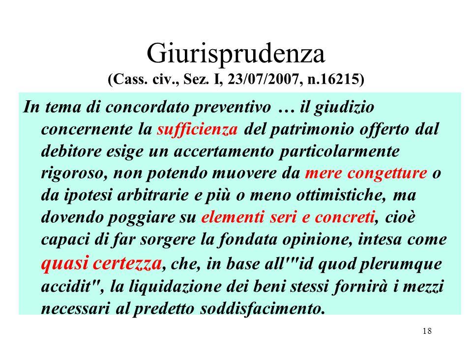 Giurisprudenza (Cass. civ., Sez. I, 23/07/2007, n.16215) In tema di concordato preventivo … il giudizio concernente la sufficienza del patrimonio offe