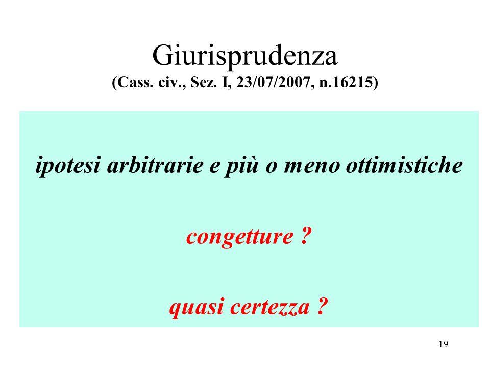 Giurisprudenza (Cass. civ., Sez. I, 23/07/2007, n.16215) ipotesi arbitrarie e più o meno ottimistiche congetture ? quasi certezza ? 19