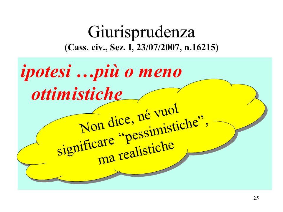 Giurisprudenza (Cass. civ., Sez. I, 23/07/2007, n.16215) ipotesi …più o meno ottimistiche Non dice, né vuol significare pessimistiche, ma realistiche