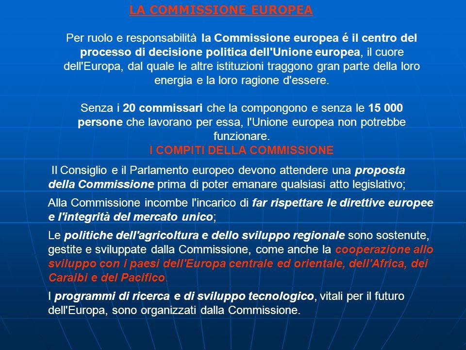 Per ruolo e responsabilità la Commissione europea é il centro del processo di decisione politica dell Unione europea, il cuore dell Europa, dal quale le altre istituzioni traggono gran parte della loro energia e la loro ragione d essere.