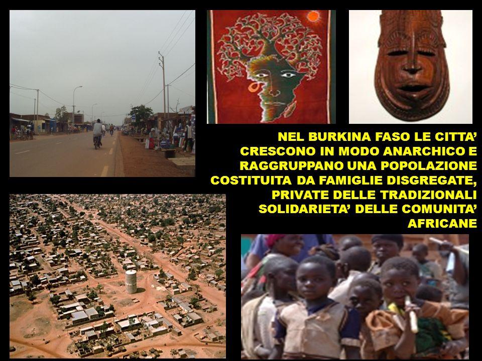 NEL BURKINA FASO LE CITTA CRESCONO IN MODO ANARCHICO E RAGGRUPPANO UNA POPOLAZIONE COSTITUITA DA FAMIGLIE DISGREGATE, PRIVATE DELLE TRADIZIONALI SOLIDARIETA DELLE COMUNITA AFRICANE