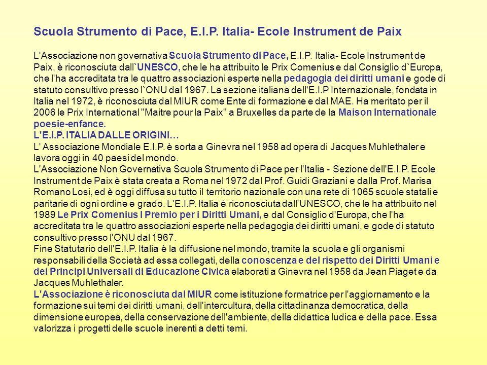 Scuola Strumento di Pace, E.I.P. Italia- Ecole Instrument de Paix L'Associazione non governativa Scuola Strumento di Pace, E.I.P. Italia- Ecole Instru