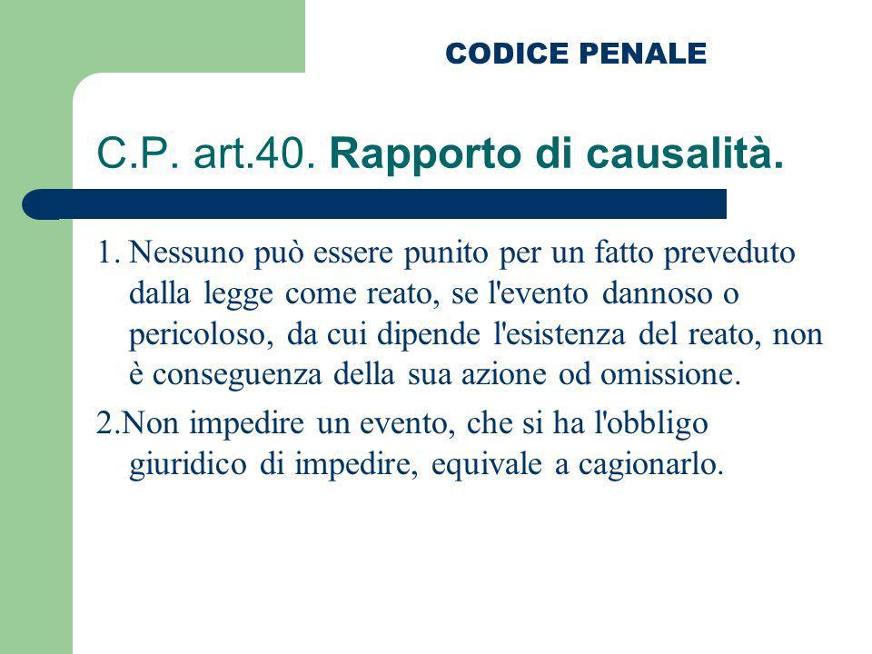C.P. art.40. Rapporto di causalità. 1.Nessuno può essere punito per un fatto preveduto dalla legge come reato, se l'evento dannoso o pericoloso, da cu