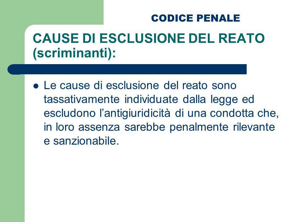 CAUSE DI ESCLUSIONE DEL REATO (scriminanti): Le cause di esclusione del reato sono tassativamente individuate dalla legge ed escludono lantigiuridicit