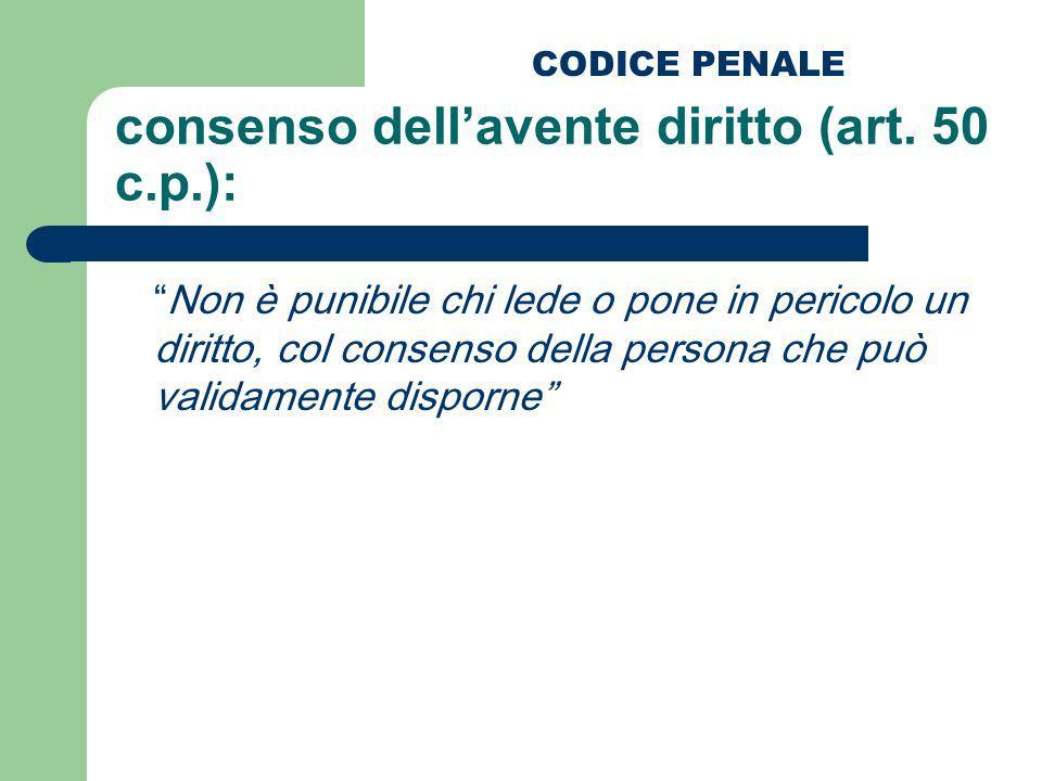 consenso dellavente diritto (art. 50 c.p.): Non è punibile chi lede o pone in pericolo un diritto, col consenso della persona che può validamente disp