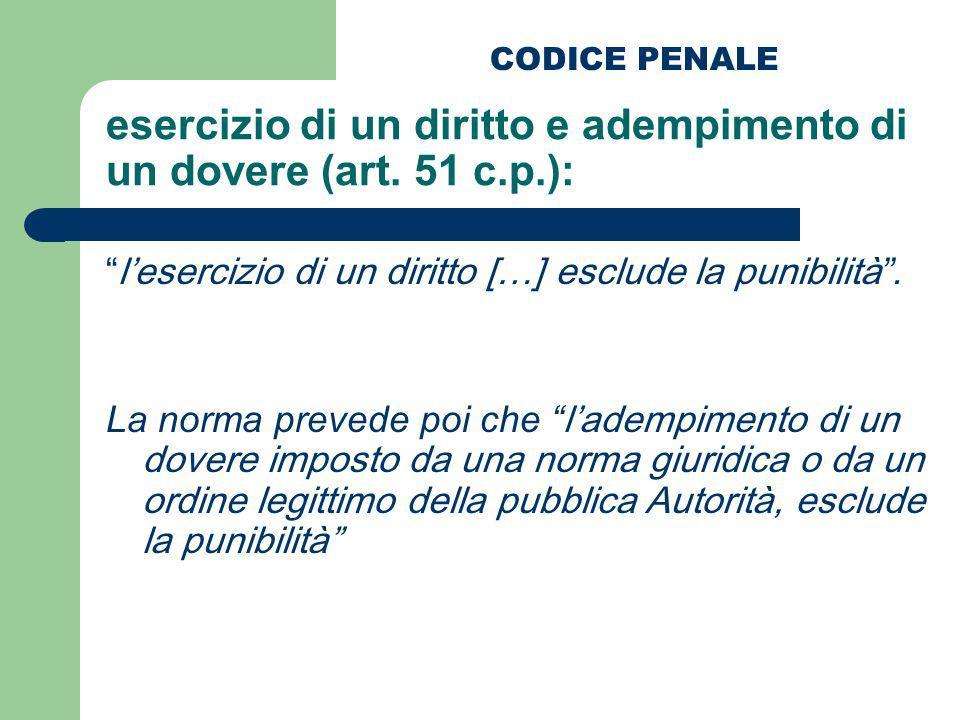 esercizio di un diritto e adempimento di un dovere (art. 51 c.p.): lesercizio di un diritto […] esclude la punibilità. La norma prevede poi che lademp