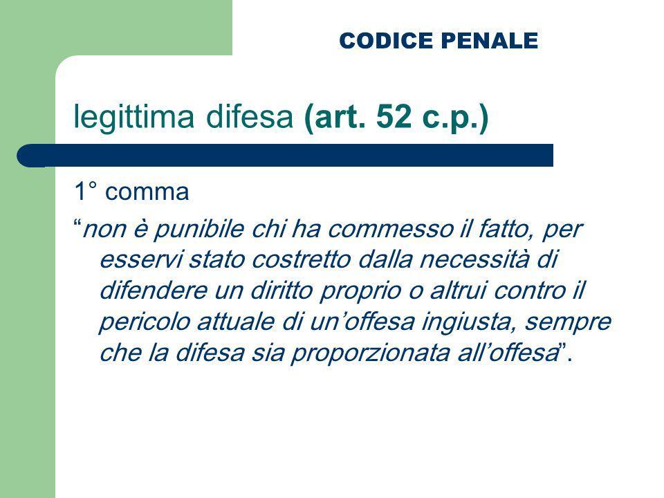 legittima difesa (art. 52 c.p.) 1° comma non è punibile chi ha commesso il fatto, per esservi stato costretto dalla necessità di difendere un diritto