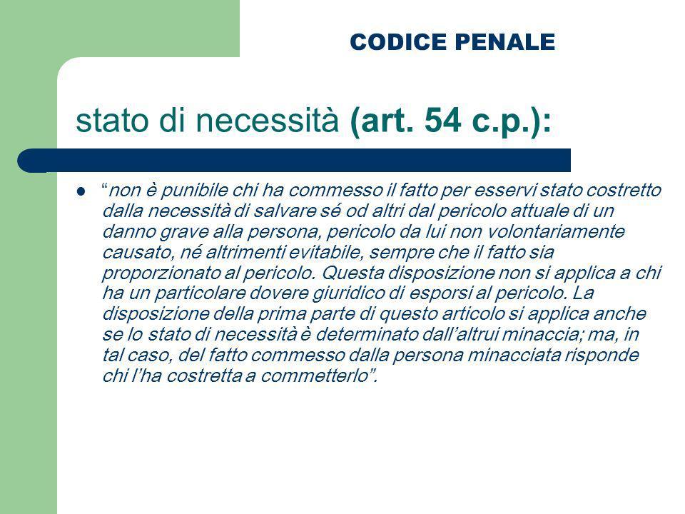 stato di necessità (art. 54 c.p.): non è punibile chi ha commesso il fatto per esservi stato costretto dalla necessità di salvare sé od altri dal peri