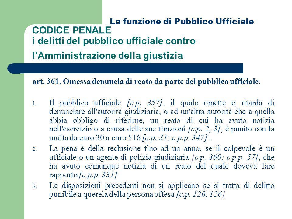 CODICE PENALE i delitti del pubblico ufficiale contro l'Amministrazione della giustizia art. 361. Omessa denuncia di reato da parte del pubblico uffic
