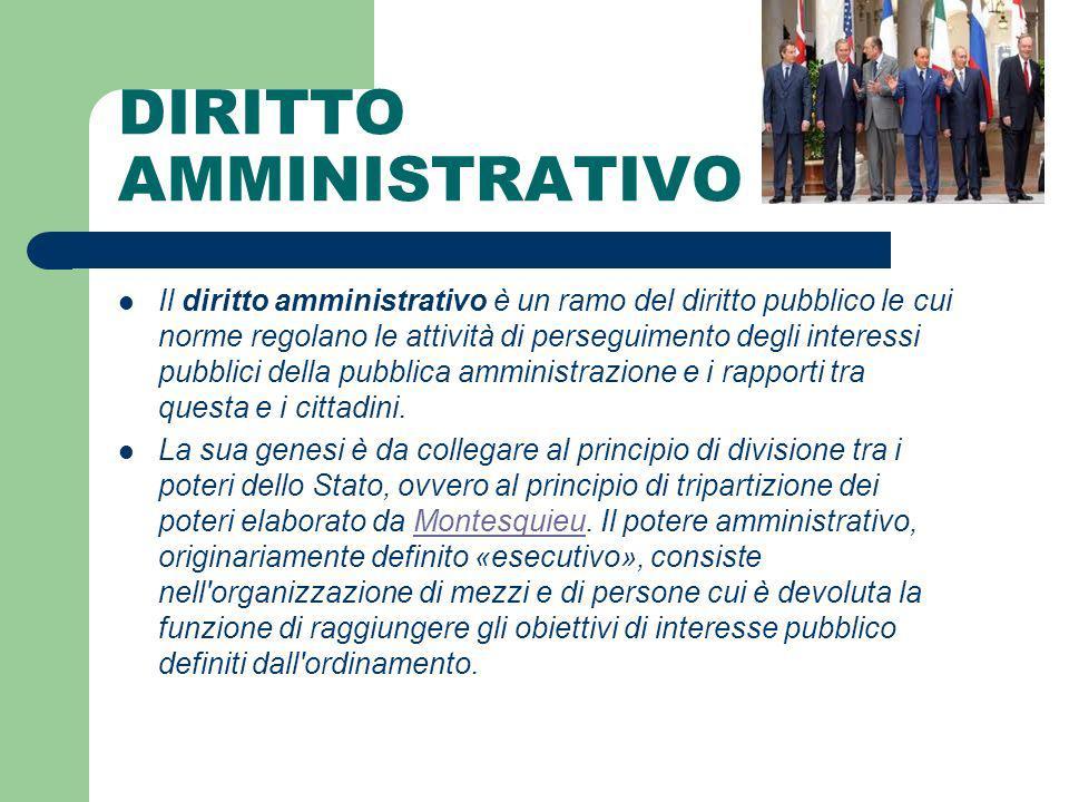DIRITTO AMMINISTRATIVO Il diritto amministrativo è un ramo del diritto pubblico le cui norme regolano le attività di perseguimento degli interessi pub