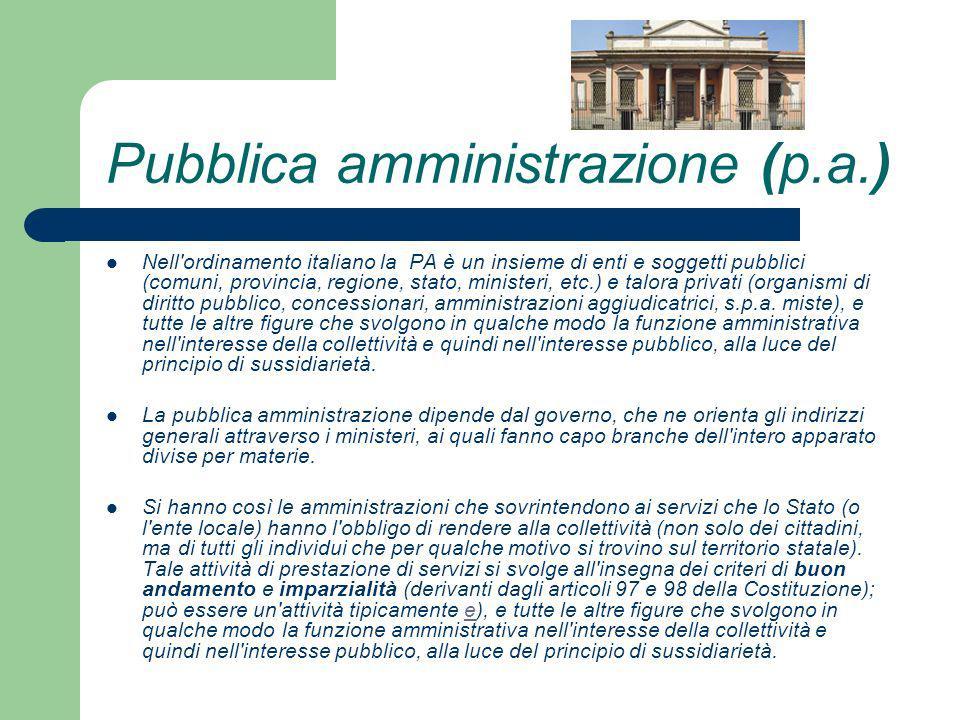 Pubblica amministrazione (p.a.) Nell'ordinamento italiano la PA è un insieme di enti e soggetti pubblici (comuni, provincia, regione, stato, ministeri
