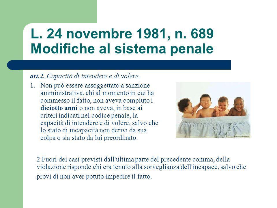 L. 24 novembre 1981, n. 689 Modifiche al sistema penale art.2. Capacità di intendere e di volere. 1.Non può essere assoggettato a sanzione amministrat