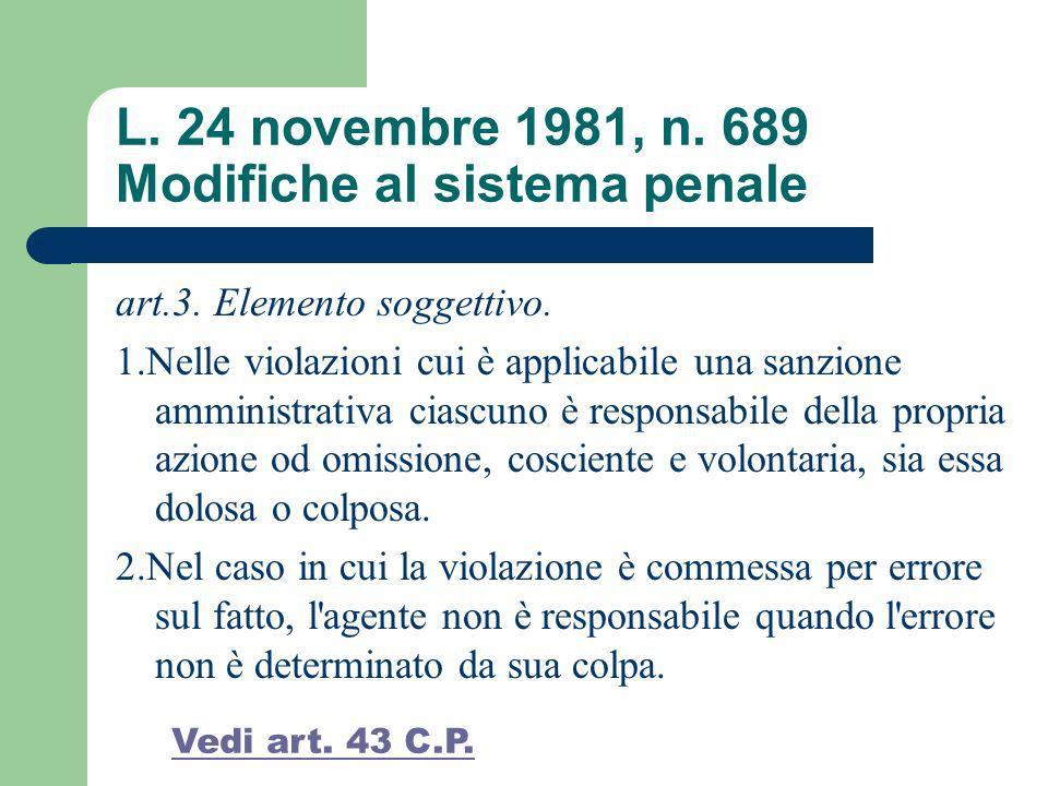 L. 24 novembre 1981, n. 689 Modifiche al sistema penale art.3. Elemento soggettivo. 1.Nelle violazioni cui è applicabile una sanzione amministrativa c