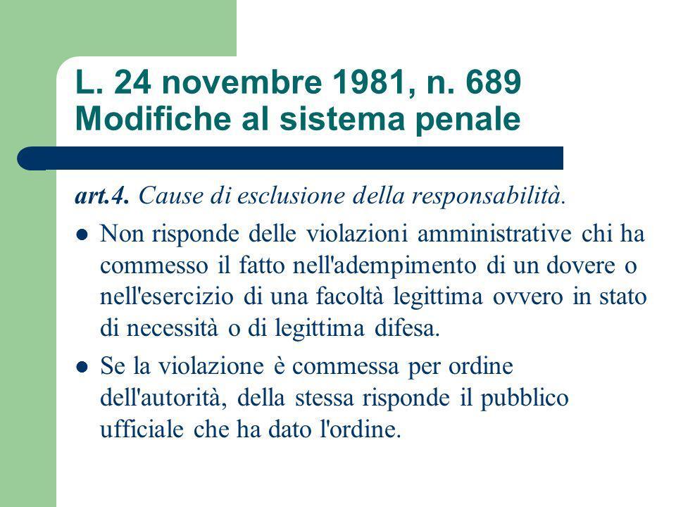 L. 24 novembre 1981, n. 689 Modifiche al sistema penale art.4. Cause di esclusione della responsabilità. Non risponde delle violazioni amministrative