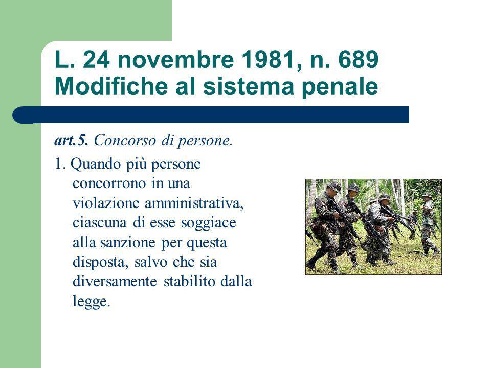 L. 24 novembre 1981, n. 689 Modifiche al sistema penale art.5. Concorso di persone. 1. Quando più persone concorrono in una violazione amministrativa,