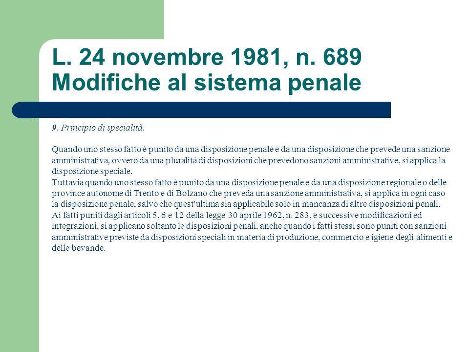 L. 24 novembre 1981, n. 689 Modifiche al sistema penale 9. Principio di specialità. Quando uno stesso fatto è punito da una disposizione penale e da u