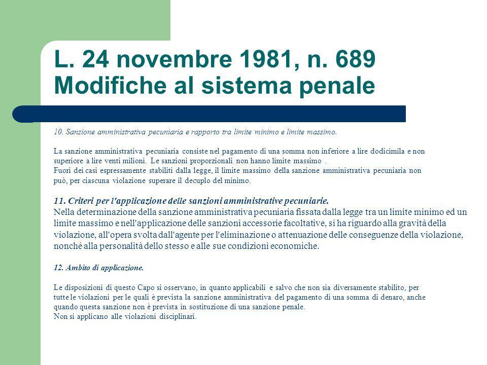 L. 24 novembre 1981, n. 689 Modifiche al sistema penale 10. Sanzione amministrativa pecuniaria e rapporto tra limite minimo e limite massimo. La sanzi