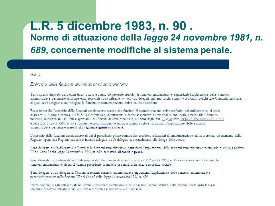 L.R. 5 dicembre 1983, n. 90. Norme di attuazione della legge 24 novembre 1981, n. 689, concernente modifiche al sistema penale. Art. 1 Esercizio delle
