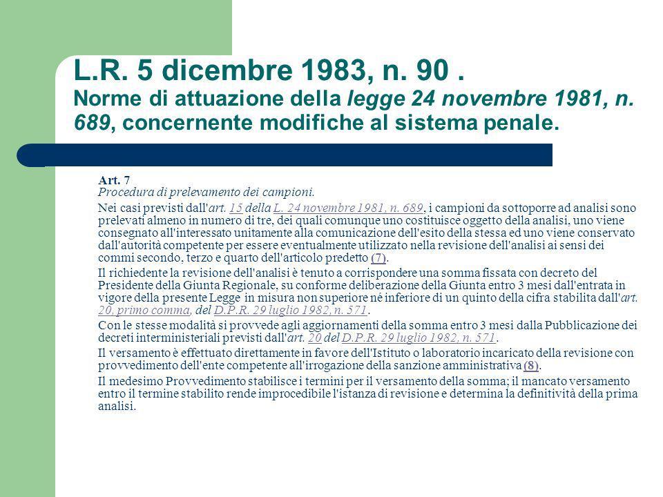 L.R. 5 dicembre 1983, n. 90. Norme di attuazione della legge 24 novembre 1981, n. 689, concernente modifiche al sistema penale. Art. 7 Procedura di pr