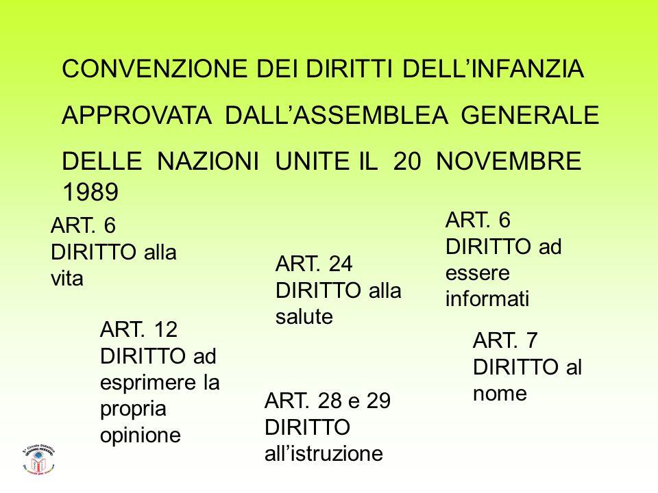CONVENZIONE DEI DIRITTI DELLINFANZIA APPROVATA DALLASSEMBLEA GENERALE DELLE NAZIONI UNITE IL 20 NOVEMBRE 1989 ART.