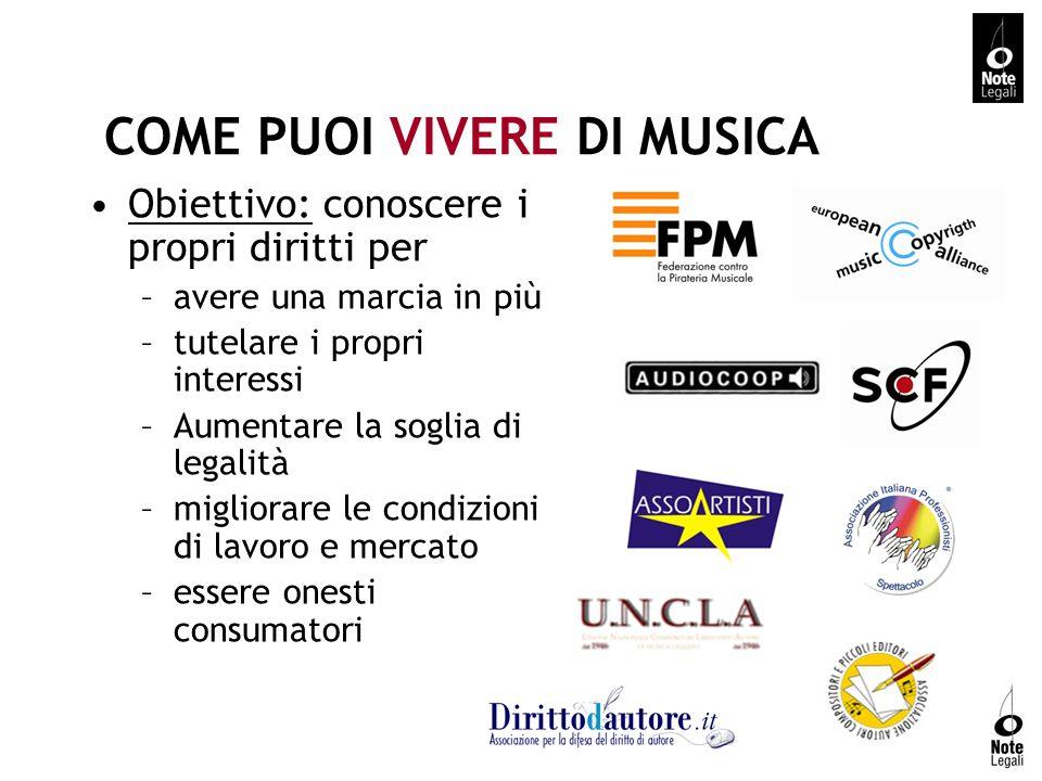 COME PUOI VIVERE DI MUSICA Obiettivo: conoscere i propri diritti per –avere una marcia in più –tutelare i propri interessi –Aumentare la soglia di leg